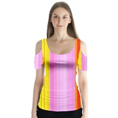 Multi Colored Bright Stripes Striped Background Wallpaper Butterfly Sleeve Cutout Tee