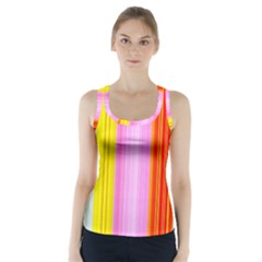 Multi Colored Bright Stripes Striped Background Wallpaper Racer Back Sports Top