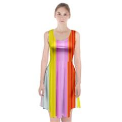 Multi Colored Bright Stripes Striped Background Wallpaper Racerback Midi Dress