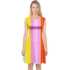 Multi Colored Bright Stripes Striped Background Wallpaper Capsleeve Midi Dress