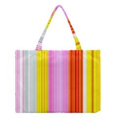 Multi Colored Bright Stripes Striped Background Wallpaper Medium Tote Bag