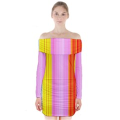 Multi Colored Bright Stripes Striped Background Wallpaper Long Sleeve Off Shoulder Dress