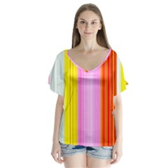 Multi Colored Bright Stripes Striped Background Wallpaper Flutter Sleeve Top