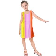 Multi Colored Bright Stripes Striped Background Wallpaper Kids  Sleeveless Dress