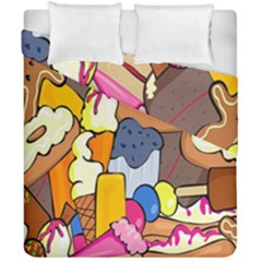 Sweet Stuff Digitally Created Sweet Food Wallpaper Duvet Cover Double Side (california King Size)
