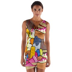 Sweet Stuff Digitally Created Sweet Food Wallpaper Wrap Front Bodycon Dress