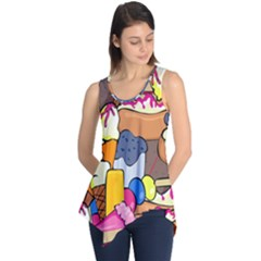 Sweet Stuff Digitally Created Sweet Food Wallpaper Sleeveless Tunic