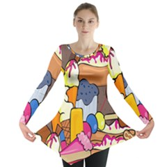 Sweet Stuff Digitally Created Sweet Food Wallpaper Long Sleeve Tunic