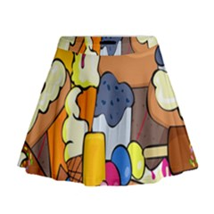 Sweet Stuff Digitally Created Sweet Food Wallpaper Mini Flare Skirt