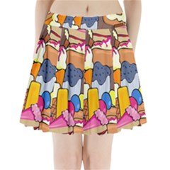 Sweet Stuff Digitally Created Sweet Food Wallpaper Pleated Mini Skirt