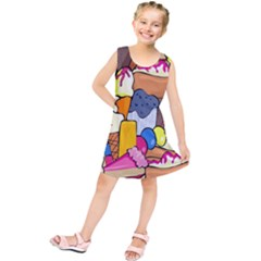 Sweet Stuff Digitally Created Sweet Food Wallpaper Kids  Tunic Dress