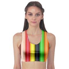 Colorful Striped Background Wallpaper Pattern Sports Bra