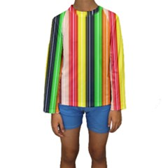 Colorful Striped Background Wallpaper Pattern Kids  Long Sleeve Swimwear