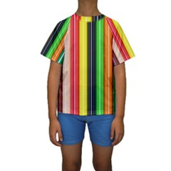 Colorful Striped Background Wallpaper Pattern Kids  Short Sleeve Swimwear