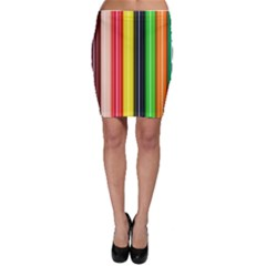 Colorful Striped Background Wallpaper Pattern Bodycon Skirt