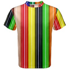 Colorful Striped Background Wallpaper Pattern Men s Cotton Tee