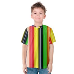 Colorful Striped Background Wallpaper Pattern Kids  Cotton Tee