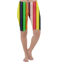 Colorful Striped Background Wallpaper Pattern Cropped Leggings