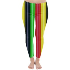 Colorful Striped Background Wallpaper Pattern Classic Winter Leggings