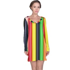 Colorful Striped Background Wallpaper Pattern Long Sleeve Nightdress