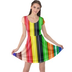 Colorful Striped Background Wallpaper Pattern Cap Sleeve Dresses