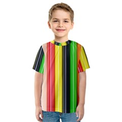 Colorful Striped Background Wallpaper Pattern Kids  Sport Mesh Tee