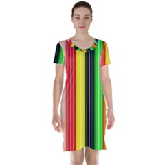 Colorful Striped Background Wallpaper Pattern Short Sleeve Nightdress