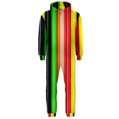 Colorful Striped Background Wallpaper Pattern Hooded Jumpsuit (men)
