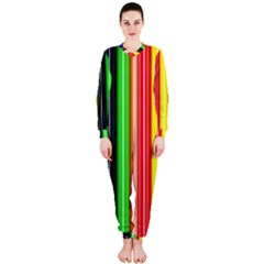 Colorful Striped Background Wallpaper Pattern Onepiece Jumpsuit (ladies)