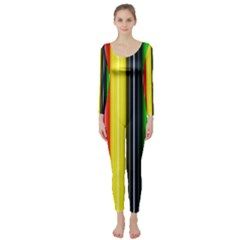 Colorful Striped Background Wallpaper Pattern Long Sleeve Catsuit