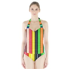 Colorful Striped Background Wallpaper Pattern Halter Swimsuit