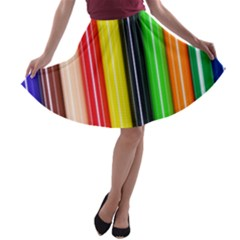 Colorful Striped Background Wallpaper Pattern A Line Skater Skirt