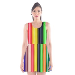 Colorful Striped Background Wallpaper Pattern Scoop Neck Skater Dress