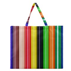 Colorful Striped Background Wallpaper Pattern Zipper Large Tote Bag