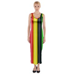 Colorful Striped Background Wallpaper Pattern Fitted Maxi Dress