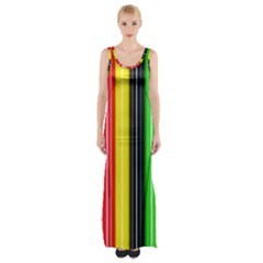 Colorful Striped Background Wallpaper Pattern Maxi Thigh Split Dress