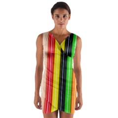 Colorful Striped Background Wallpaper Pattern Wrap Front Bodycon Dress