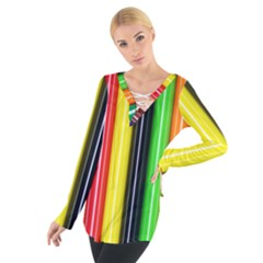 Colorful Striped Background Wallpaper Pattern Women s Tie Up Tee
