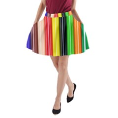 Colorful Striped Background Wallpaper Pattern A Line Pocket Skirt