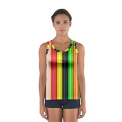 Colorful Striped Background Wallpaper Pattern Women s Sport Tank Top