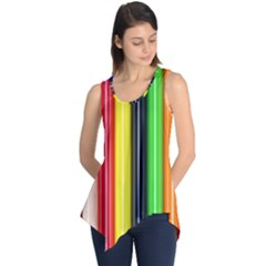 Colorful Striped Background Wallpaper Pattern Sleeveless Tunic