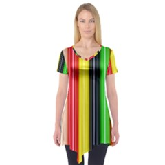 Colorful Striped Background Wallpaper Pattern Short Sleeve Tunic