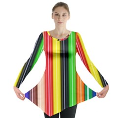 Colorful Striped Background Wallpaper Pattern Long Sleeve Tunic
