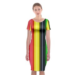 Colorful Striped Background Wallpaper Pattern Classic Short Sleeve Midi Dress