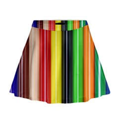Colorful Striped Background Wallpaper Pattern Mini Flare Skirt