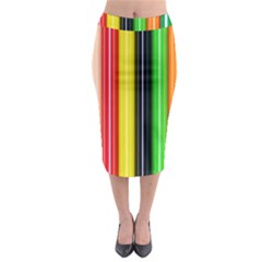 Colorful Striped Background Wallpaper Pattern Midi Pencil Skirt