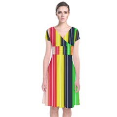 Colorful Striped Background Wallpaper Pattern Short Sleeve Front Wrap Dress