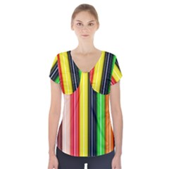 Colorful Striped Background Wallpaper Pattern Short Sleeve Front Detail Top