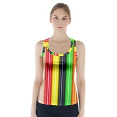 Colorful Striped Background Wallpaper Pattern Racer Back Sports Top