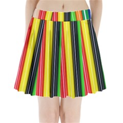 Colorful Striped Background Wallpaper Pattern Pleated Mini Skirt